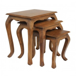 Marseille Wooden Nest Of Tables In Brunt Oak