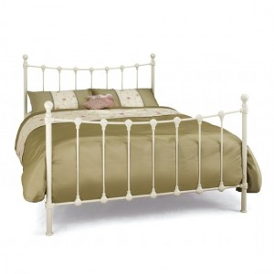 Marseilles Metal Small Double Bed In Ivory Gloss