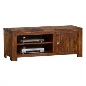 Martello Wooden TV Stand In Dark Brown Sandblasted