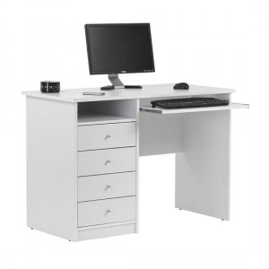 Marymount Computer Desk In White With 4 Drawers