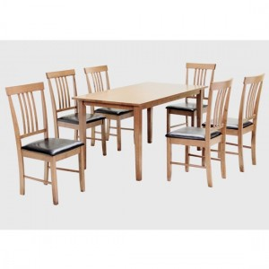 Massa Large Wooden Dining Set In Natural With 6 Chairs