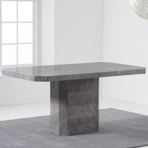 Serene Marble Dining Table In Grey High Gloss