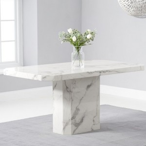 Serene Marble Dining Table In White High Gloss