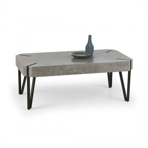 Matador Wooden Coffee Table In Stone Effect With Black Metal Legs
