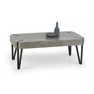 Fairmont Coffee Table In Stone Effect With Black Metal Legs