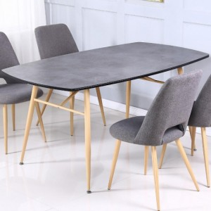 Matola Stone Effect Glass Dining Table with Beech Metal Legs