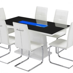 Matrix LED Wooden Dining Table In White High Gloss
