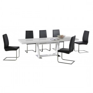Maxwell Extending Wooden Dining Set In White High Gloss With 6 Chairs