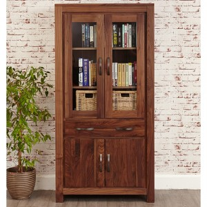 Mayan Large Wooden 4 Doors 1 Drawer Glazed Bookcase In Walnut