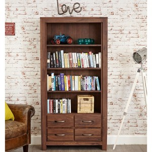 Mayan Large Wooden 4 Drawers Bookcase In Walnut