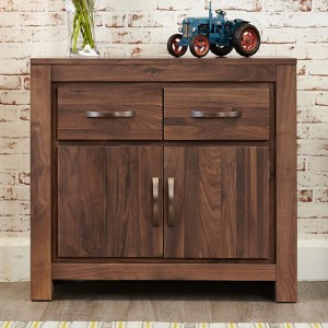 Mayan Small Wooden 2 Doors 2 Drawers Sideboard In Walnut
