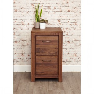 Mayan Wooden 2 Drawers Filing Cabinet In Walnut