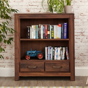 Mayan Wooden 2 Drawers Low Bookcase In Walnut