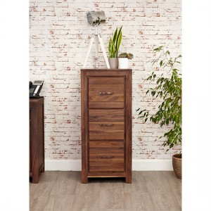 Mayan Wooden 3 Drawers Filing Cabinet In Walnut