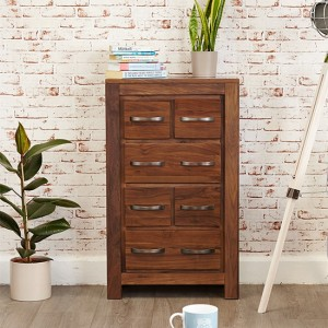 Mayan Wooden DVD Storage Chest Of Drawers In Walnut