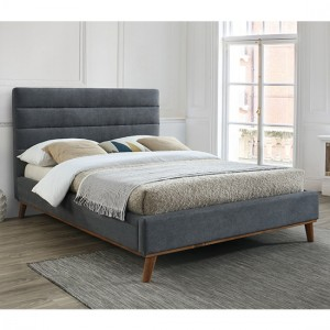 Mayfair Fabric Upholstered Double Bed In Dark Grey