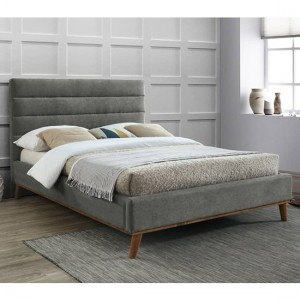 Mayfair Fabric Upholstered Double Bed In Light Grey