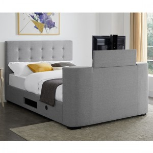 Mayfair Fabric Upholstered Double TV Bed In Grey