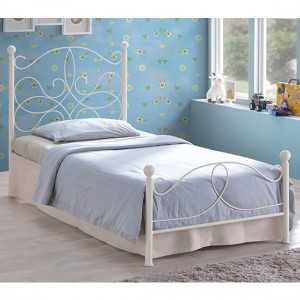 Melissa Metal Single Bed In Ivory