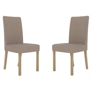 Melodie Beige Linen Fabric Dining Chairs In Pair
