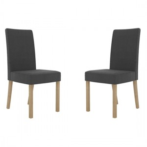 Melodie Charcoal Linen Fabric Dining Chairs In Pair