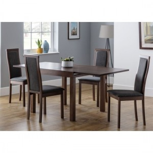 Melrose Extending Wooden Dining Table In Walnut With 4 Chairs