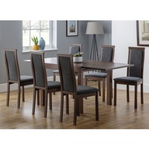 Melrose Extending Wooden Dining Table In Walnut With 6 Chairs