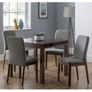 Melrose Wooden Extending Dining Table In Walnut With Berkeley 4 Chairs