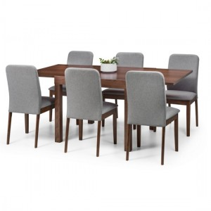 Melrose Wooden Extending Dining Table In Walnut With Berkeley 6 Chairs