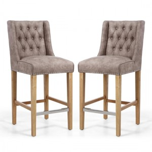 Melville Beige Suede Effect Bar Chair In Pair