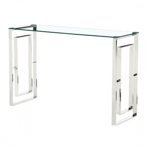 Memphis Clear Glass Console Table With Silver Legs