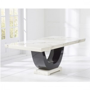 Memphis Large Rectangular Marble Dining Table In White