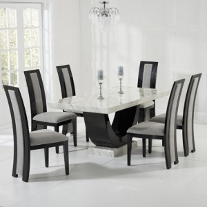 Memphis Marble Dining Set In Cream And Black With 6 Grey Venezia Chairs