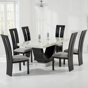 Memphis Marble Dining Table In White Black With 4 Rome Chairs
