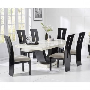 Memphis Marble Dining Table In White Black With 6 Rome Chairs