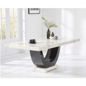 Memphis Rectangular Marble Dining Table In White