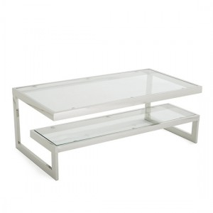 Mera Coffee Table In Clear Glass Top With Polished Stainless Steel Base