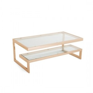 Mera Coffee Table In Clear Glass Top With Rose Gold Base