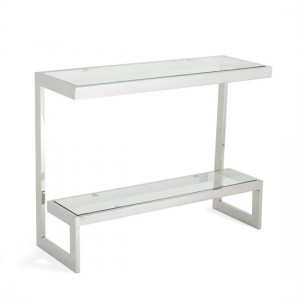Mera Console Table In Clear Glass Top With Polishhed Stainless Steel Base