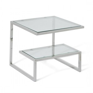 Mera Lamp Table In Clear Glass Top With Polished Stainless Steel Base