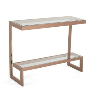 Mera Rectangular Console Table In Clear Glass Top With Rose Gold Base
