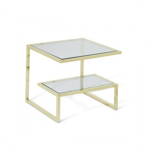 Mera Square Lamp Table In Clear Glass Top With Gold Base