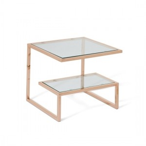Mera Square Lamp Table In Clear Glass Top With Rose Gold Base