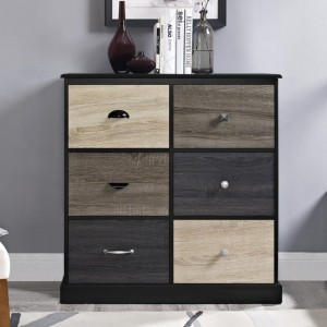 Mercer Wooden Storage Cabinet In Black With 6 Doors