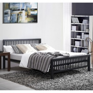 Meridian Metal Small Double Bed In Black