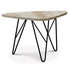 Mersey Wooden Coffee Table In Natural With Black Metal Legs
