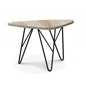 Utopia Coffee Table In Stone Effect With Black Metal Legs