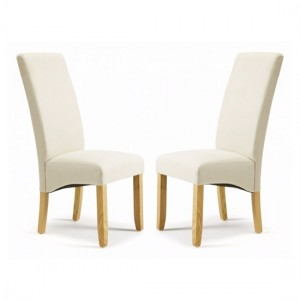 Merton Putty Fabric Dining Chairs In Pair With Oak Hevea Legs