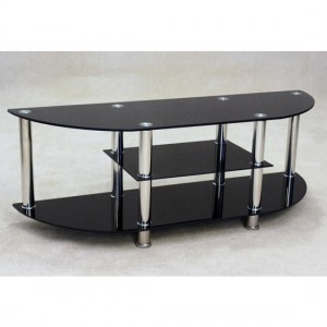 Metro Black Glass TV Stand With Chrome Legs