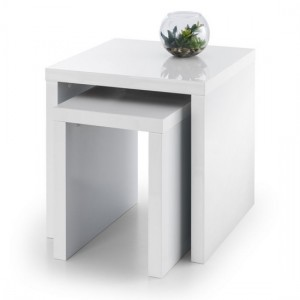 Metro Wooden Nest Of Tables In White High Gloss